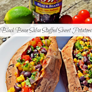 Black Bean Salsa Stuffed Sweet Potatoes.