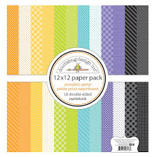 Doodlebug Petite Prints Double-Sided Cardstock 12X12 12/Pk - Pumpkin Party