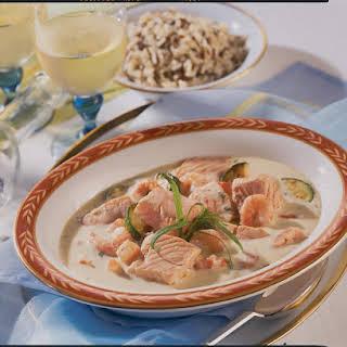 Rich Salmon, Prawn and Tarragon Stew.