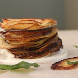 Crispy Apple Chips with Sage and Maple-Vanilla Yogurt Dip