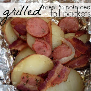 Grilled Meat 'n Potatoes Foil Packets (ranch, onions, bacon, & sausage).