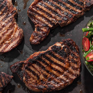 Spice-Rubbed Grilled Rib Steaks with Green Bean and Cherry Tomato Salad