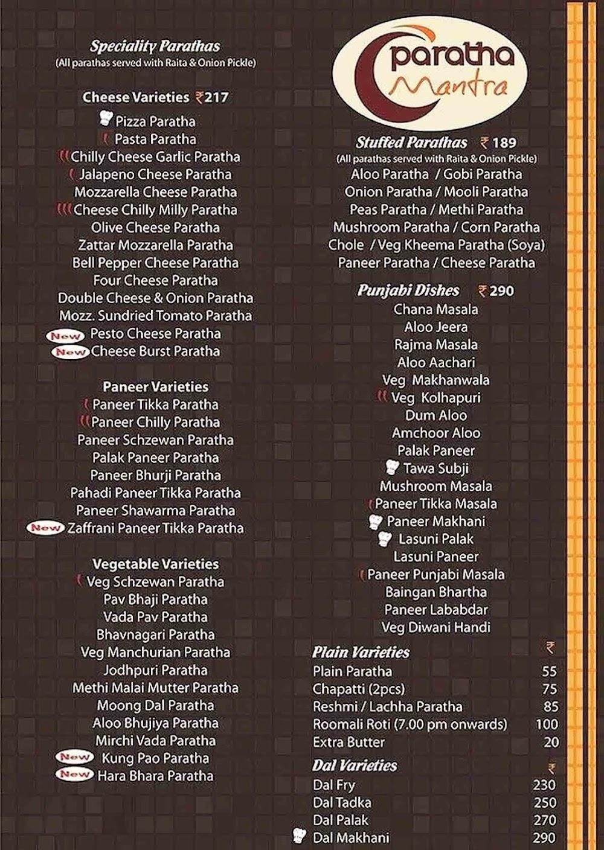 Paratha Mantra menu 1
