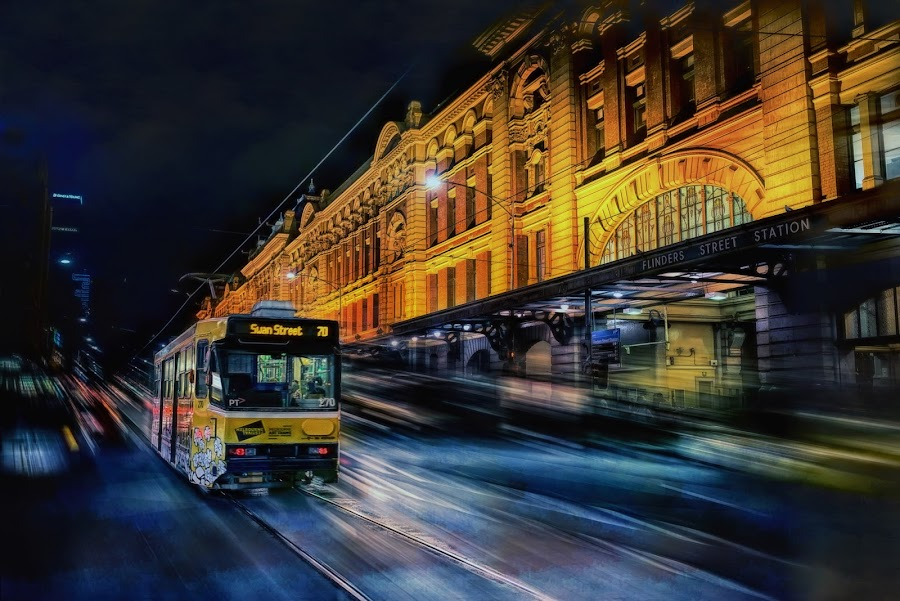 Flinder Street Station by Jim Merchant - City,  Street & Park  Street Scenes ( tram, historic district, street scene, motion blur, city )
