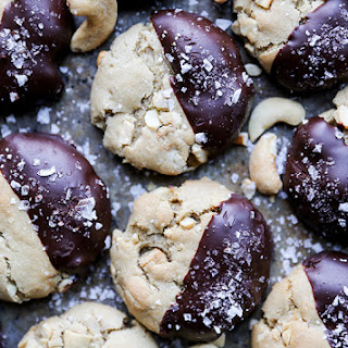 Chocolate-Dipped Salted Cashew Cookies.