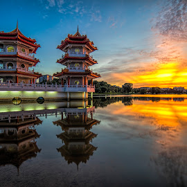 Twin Pagodas of Chinese Garden by Gordon Koh - City,  Street & Park  City Parks