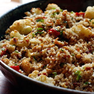 Couscous Salad with Roasted Vegetables and Chickpeas.