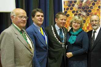 Photo: Hugh Keery Chairman Mid Antrim BBKA, Tim Lovett Chairman BBKA, Bill Turnbull President INIB, Sesi Turnbull, Michael Young Chairman INIB.