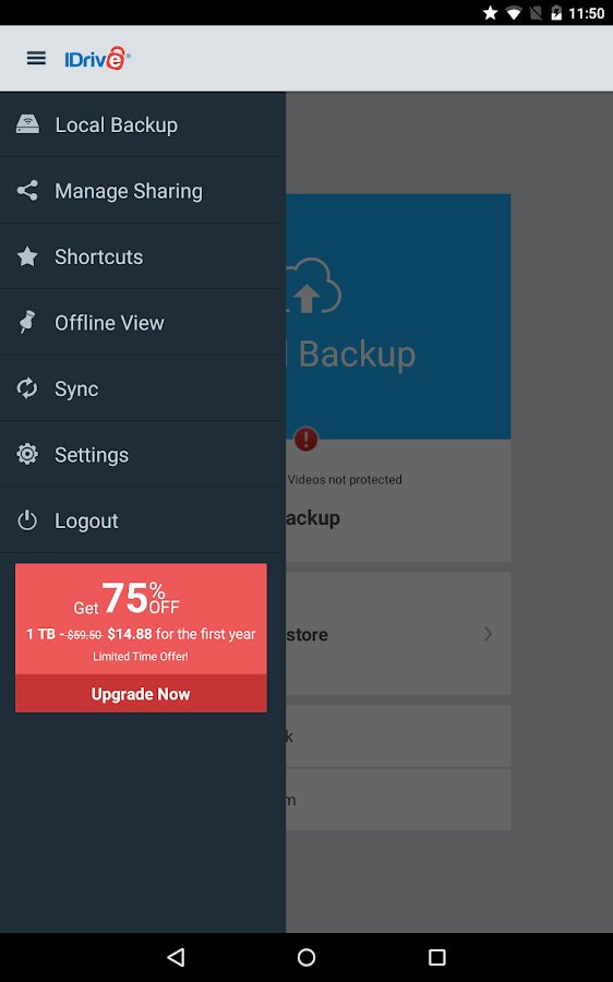 IDrive Online Backup- screenshot