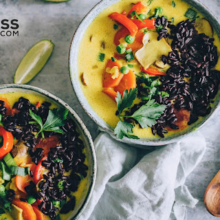 Yellow Curry Soup with Black Rice.