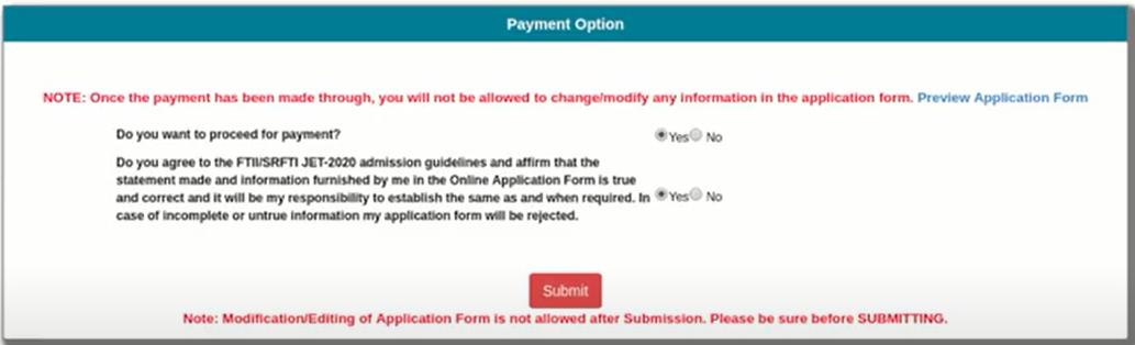 FTII JET Application Form 2021 Make Payment