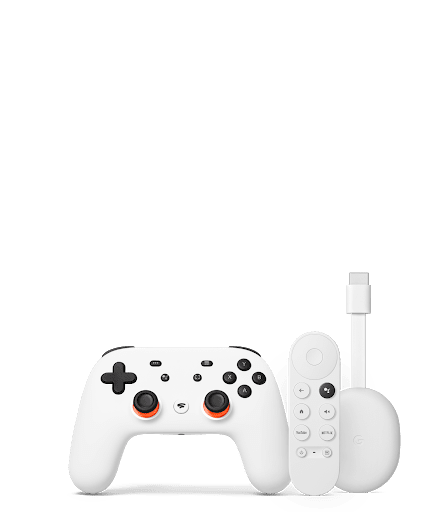 Stadia controller is pictured alongside Chromecast with Google TV