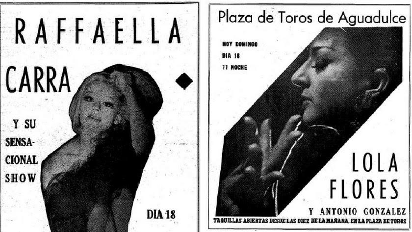 Anuncios de los dos históricos conciertos vividos en Almería el 18 de julio de 1976.
