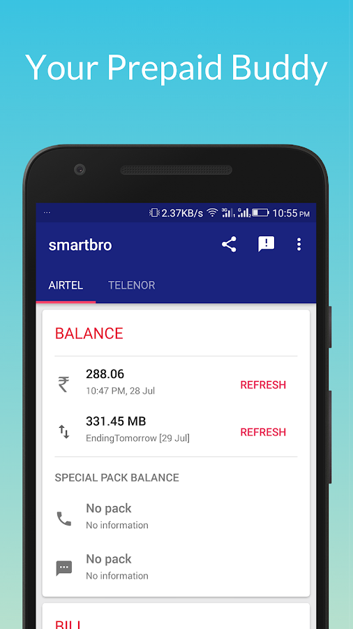 Prepaid Bill & Balance Tracker- screenshot