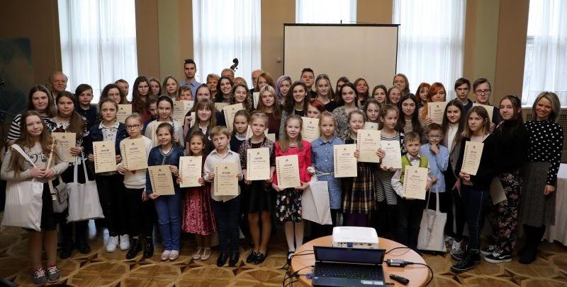 Konkursa laureātu apbalvošanas pasākums Rīgas Latviešu biedrības namā 2019.gada februārī.
