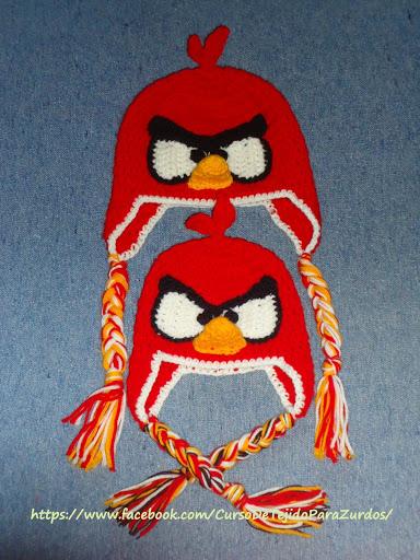 gorros angry birds para chicos y grandes tejidos al crochet ganchillo para zurdos