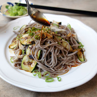 Soba Salad With Smoked Mackerel and Courgette.