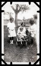 Photo: Tom Brandvold Album TBB188 / Girl on left unidentified.  Mabel, Elroy and Norman Fjelstad