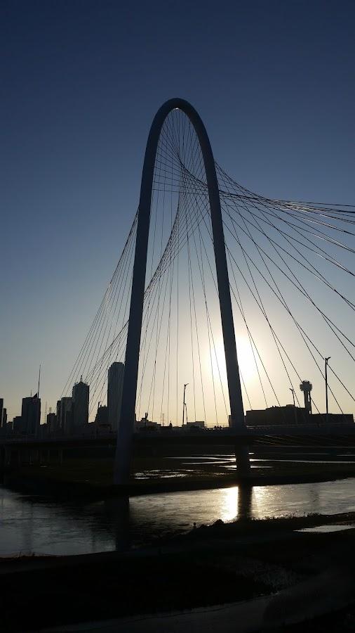 Sunrise in Dallas by Michael McMurray - Instagram & Mobile Android ( skyline, trinity river, dallas, cables, suspension, bridge, sunrise, shilouette, margaret hunt hill bridge, sun, river )