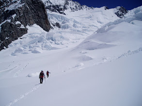 Photo: Heading across the Grand Plateau towards the Linda Glacier. In just a few hours, all those crevasses will need to be negotiated in the dark!