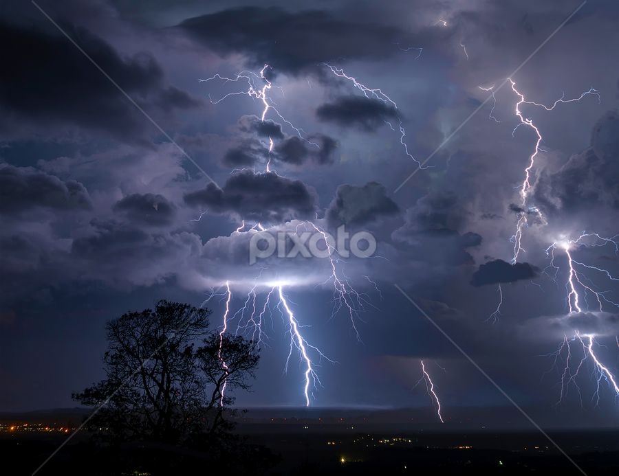 Flash Bang by Clive Wright - Landscapes Weather ( clouds, flash, lightning, sky, electricity )
