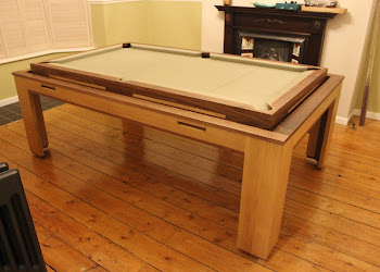 Cream Elevated Spartan Pool Table in front of a fire place