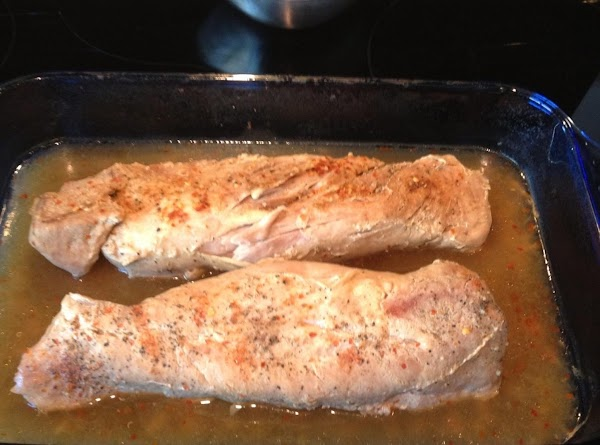 Cover dish holding the tenderloin tightly with foil and cook in the oven for...