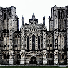 Wells Cathedral. by Simon Page - Black & White Buildings & Architecture