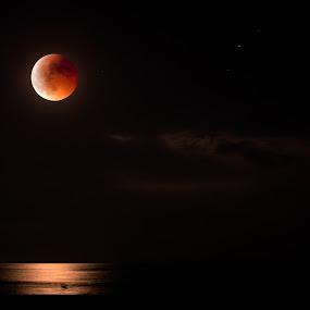 lever de lune by Olivier Tabary - Backgrounds Nature ( lune, orange, nuit, mer, lever de lune, éclipse )