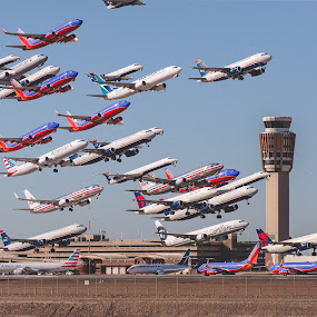 by Bryan Snider - Transportation Airplanes ( united, airliners, spotting, airplanes, delta, multiplicity, airbus, airport, aviation, sky harbor, airlines, digital art, arizona, avgeek, southwest, boeing, digital photography )