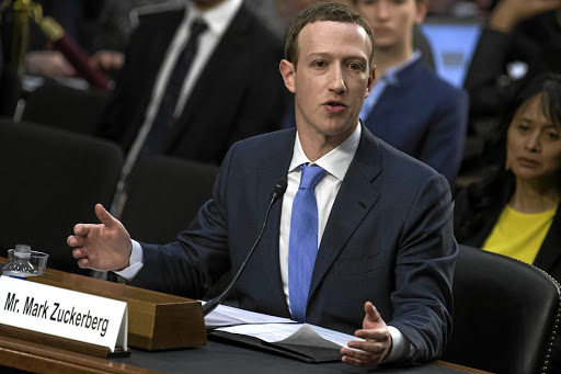Putting on a brave face but not playing by the book: Mark Zuckerberg testifying before a joint hearing.in April 10. Picture: Getty Images/Tom Williams/CQ Roll Call)