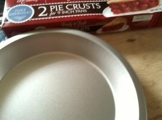 Prepare pie crust.Preheat oven to 350. Add ham to saute pan with butter and...