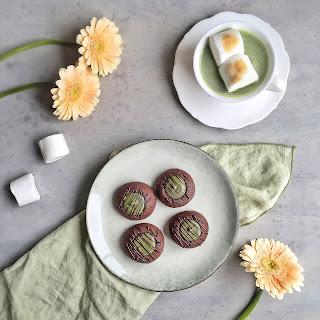 Chocolate Thumbprint Cookies with Matcha-White Chocolate