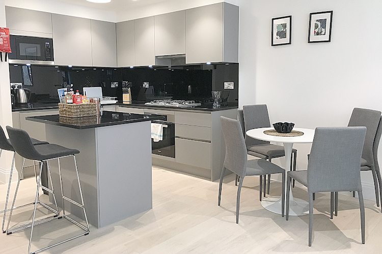Fully equipped kitchen at Oxford Circus Apartments