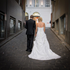 Walking away by Gary Bradshaw - Wedding Bride & Groom