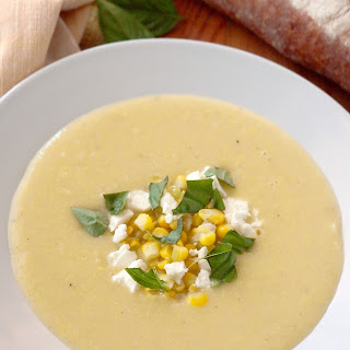 Summer Corn Bisque with Feta & Basil