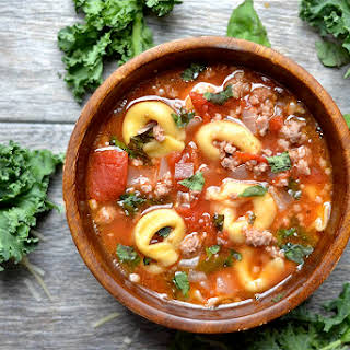 Slow Cooker Sausage, Kale, and Tortellini Soup.