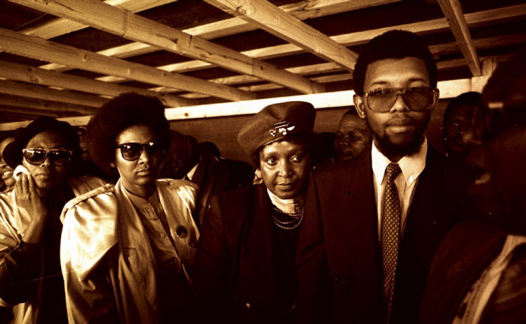 Winnie Madikizela-Mandela in the Transkei with Dali Mpofu and other unidentified friends at an ANC rally in 1989.