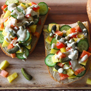 Tropical Fruit Sandwich with Creamy Vinaigrette (Vegan).