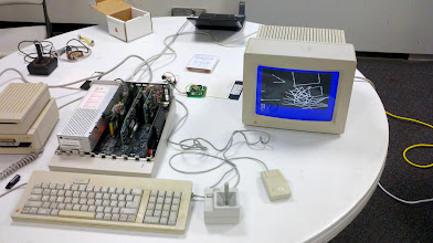Photo: Alex Lukazi's IIGS setup. Doing serial to bluetooth to drive his WALTR robot.