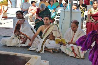 Photo: Charan Gurumurthi, Balaji and Srinivasan are chanting Divya Prabhandam