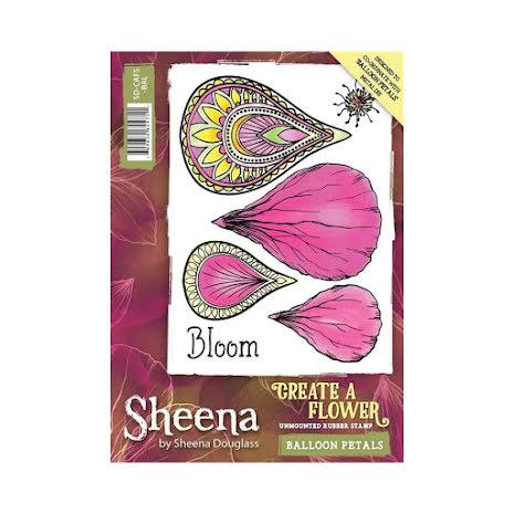 Sheena Douglass Create a Flower A6 Rubber Stamp - Balloon Petals UTGÅENDE