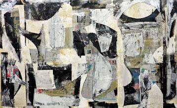 "Photo: Scholar Punts (enamel, newsprint and charcoal on canvas) 53x86"" 2013"