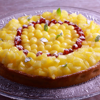 Cream Cheese and Tropical Fruit Tart with Spiced Crust.