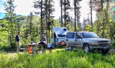 Photo: Sunday morning coffee at Thane Creek Campground in the Highwood Mtns.