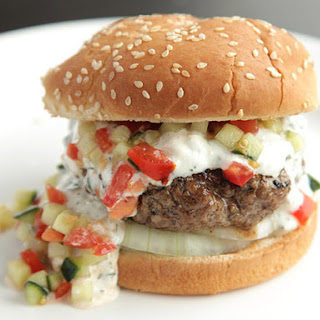 Burgers With Creamy Feta Sauce and Tomato-Cucumber Relish.
