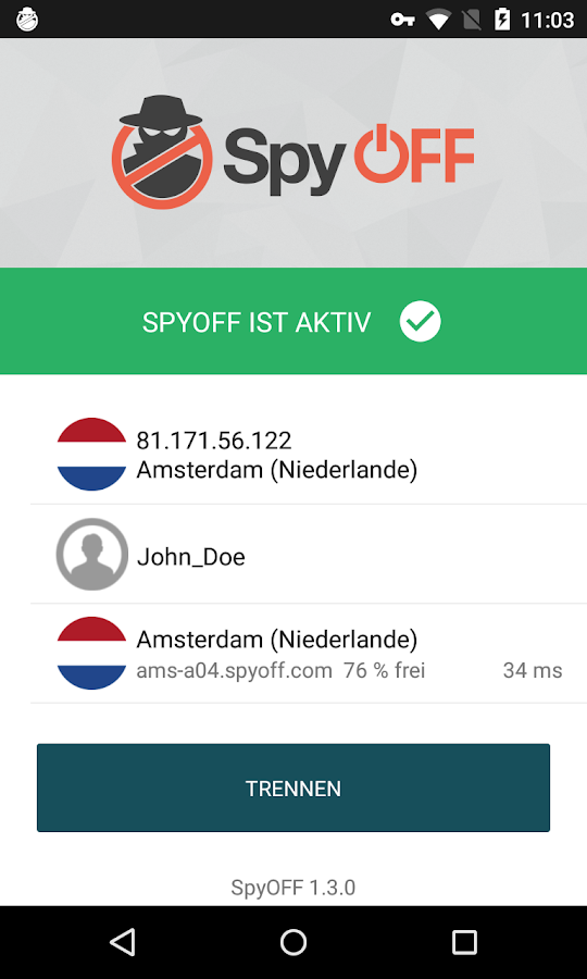 SpyOFF VPN - anonym surfen – Screenshot