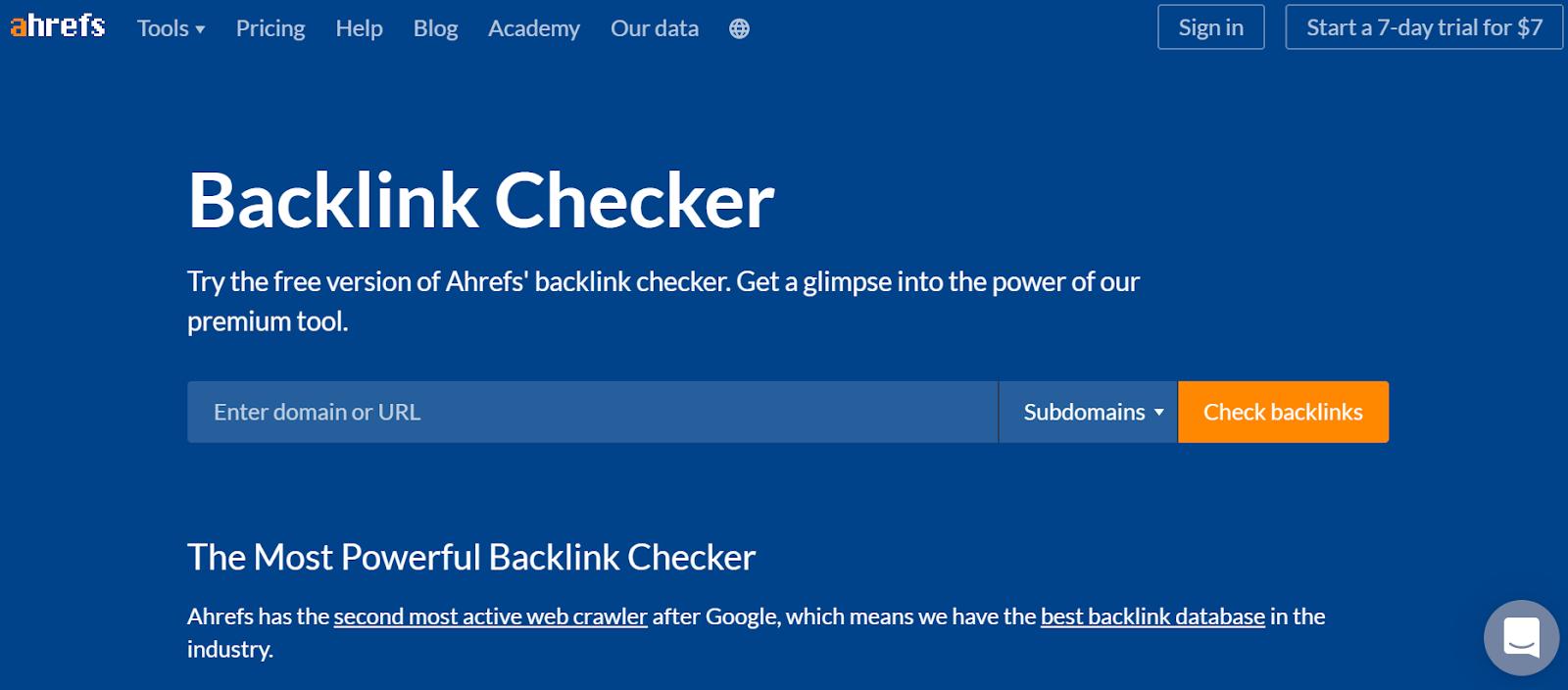 Ahrefs Backlink Checker