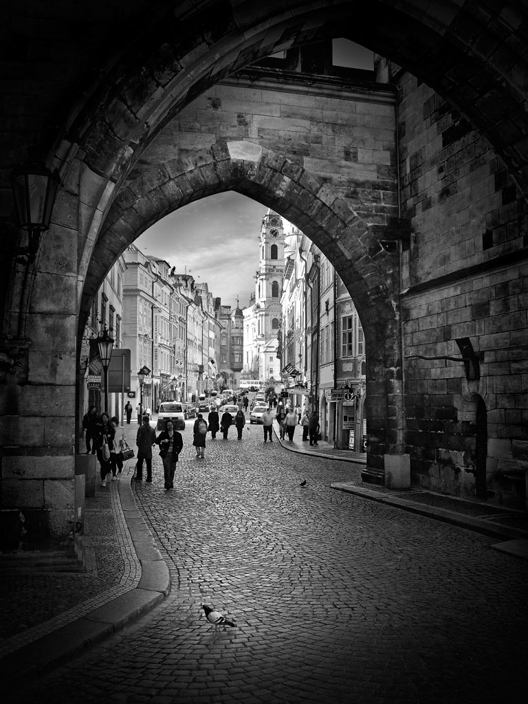 Photo: Looking through the gate in the tower at the west end of Charles Bridge, Prague, CZ