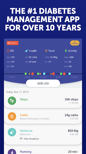 Glucose Buddy Diabetes Tracker screenshot for Android